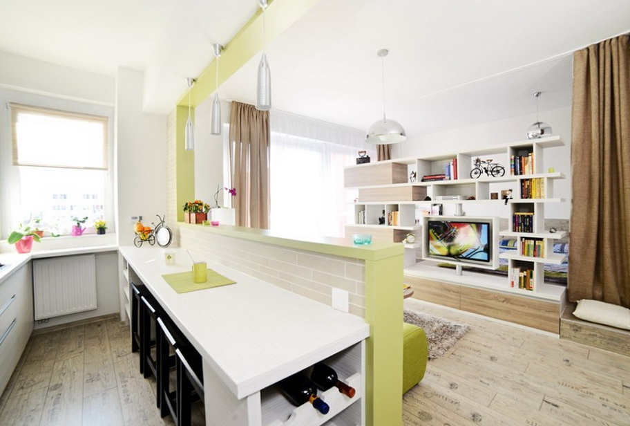 Bright studio apartment in Romania | Home Interior Design, Kitchen ...