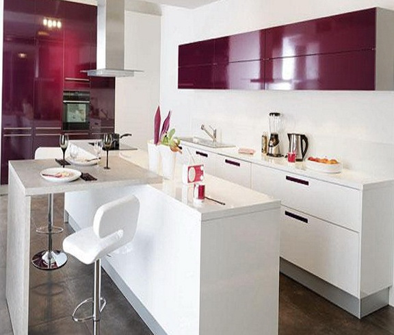 and lilac kitchen in the interior  Home Interior Design, Kitchen