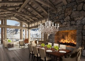 0-51-Degrees-Thermal-Resort-spa-mansion-in-swiss-alps-chalet-interior-design-fireplace-dining-table-zone-panoramic-windows-crystal-chandelier