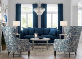 0-Durham-Sofa-blue-and-white-living-room-arm-chairs-Crate-and-Barrel-blue-curtains-crystal-chandelier-classical-style