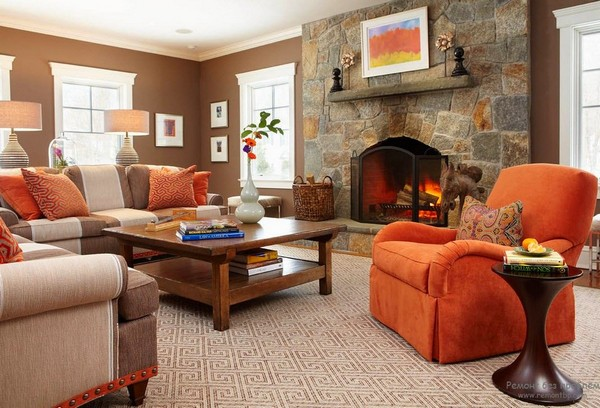 Orange color in interior design home interior design for Orange and brown living room ideas