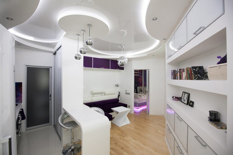 0 Futuristic Interior Style White Stretch Ceiling