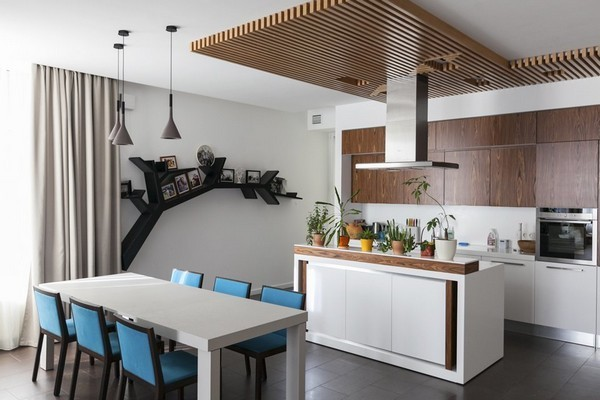 Minimalist Apartment With Plenty Of Niches And Wood Décor Home - How to decorate a kitchen island