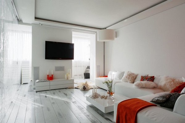 White Kitchen Orange Accents snow-white apartment with orange and red accents | home interior