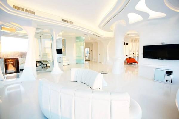 0 total white glossy futuristic style interior design
