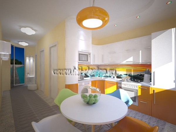 0-tropical-island-style-bright-interior-orange-kitchen-orange-lamp-mismatched-multicolor-dining-chairs-stretch-ceiling