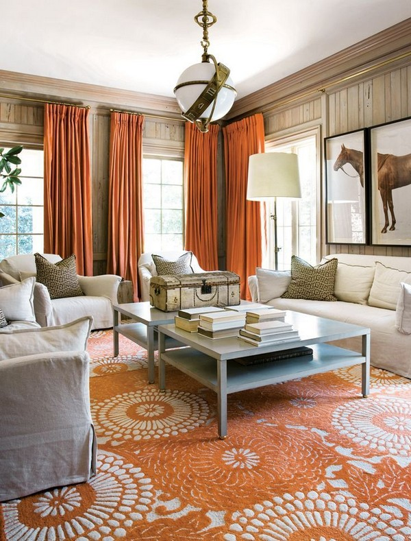 Blue And Orange Living Room Ideas: Orange Color In Interior Design