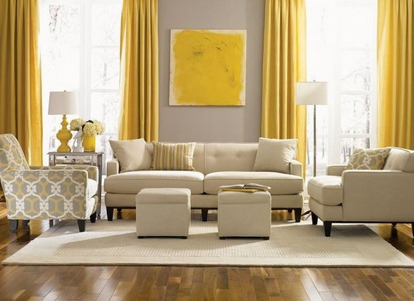 1 Beige Interior Classical Living Room Yellow Accent  Part 91