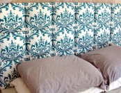 DIY Fabric Headboard with Tile Effect