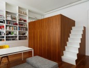 Studio Apartment with a Multifunctional Cubic Construction & Loft Bed