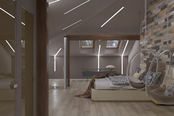 1-modern-naturalistic-eco-attic-interior-design-wooden-pine-panels-textile-headboard-suspended-transparent-arm-chair-LED-lights-skylights