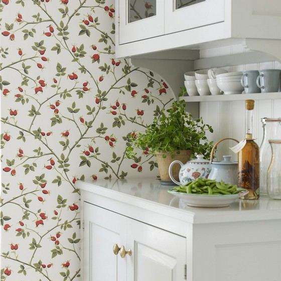 1-paper-wallpaper-with-floral-pattern-in-kitchen-interior-provence-style