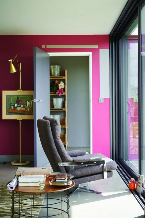 1-trendy-interior-color-spring-2017-farrow-and-ball-Radicchio-pink-walls-gray-door