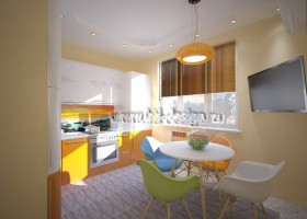 1-tropical-island-style-bright-interior-orange-kitchen-orange-lamp-mismatched-multicolor-dining-chairs-stretch-ceiling