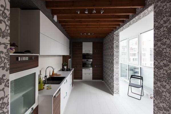 10-minimalistic-Scandinavian-style-apartment-white-walls-white-floor-brown-kitchen-set-open-to-balcony