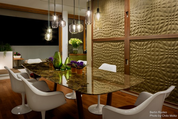 11-bachelor-pad-interior-modern-style-3d-wallpaper-walnut-frame-terrace-exit-dining-room-marble-table-top-white-chairs