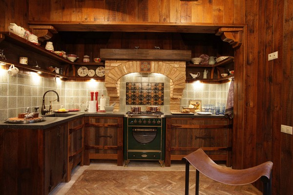 11 Vintage American Country Style Wooden House Kitchen