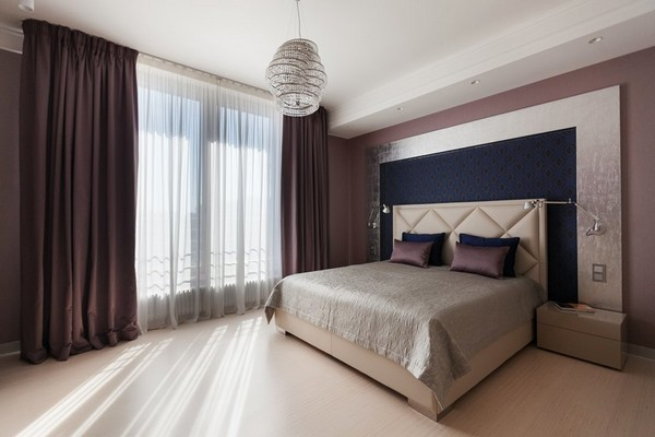 12-minimalist-style-bedroom-light-narrow-plank-wood-floor-purple-curtains-textile-headboard