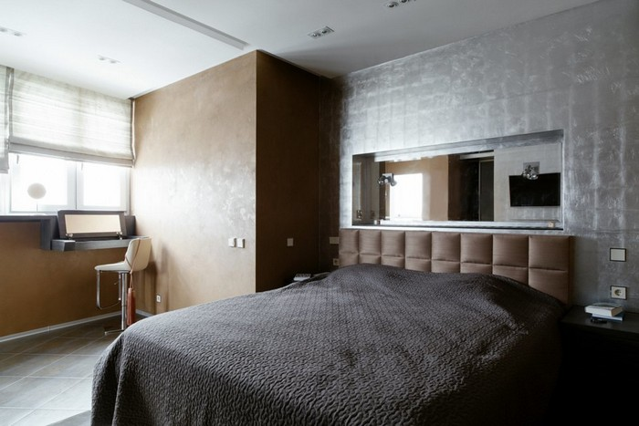 13-brutal-loft-interior-bedroom-silver-leaf-wall-decorative-plaster-wild-silk-headboard-blinds