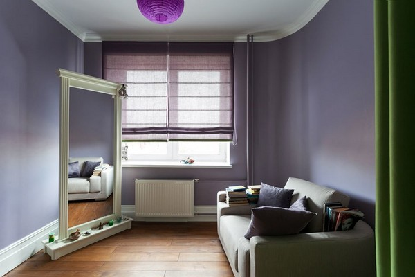 13-eclectic-interior-style-lilac-walls-roman-blinds-green-curtains-yoga-room