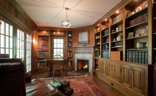13-home-library-ideas-classical-style-work-room-fireplace-spot-lights-book-storage-shelves