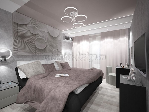 13-tortora-dove-gray-interior-bedroom-futuristic-lamp-3D-wall-panel-decor-built-in-closet