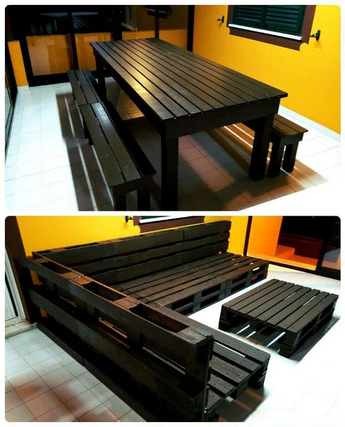 14-diy-hand-made-pallet-furniture-dining-table-set