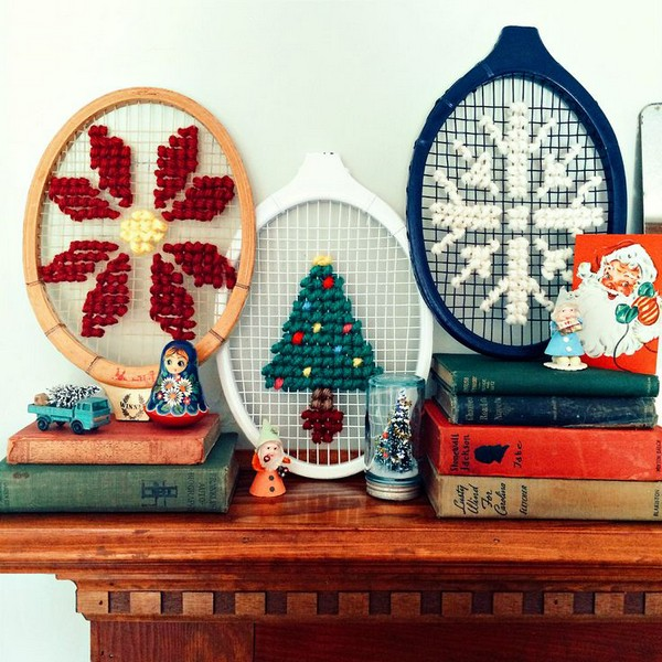 15-cross-stitch-pattern-in-interior-design-hand-made-decor-remade-old-rtennis-rackets-christmas