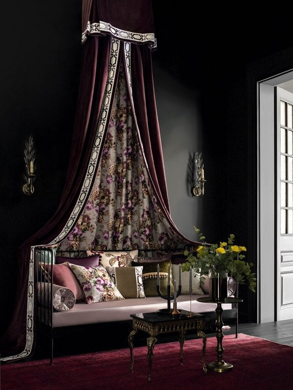 15-luxurious-designer-elegant-dark-home-textile-togas-nocturne-collection-baldachin-curtains-drapery-floral-pattern-decorative-couch-pillows-black-walls-in-interior-design-classical-style