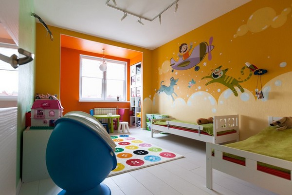 15-minimalistic-Scandinavian-style-apartment-white-floor-bright-toddler-kids-children-room-wall-painting