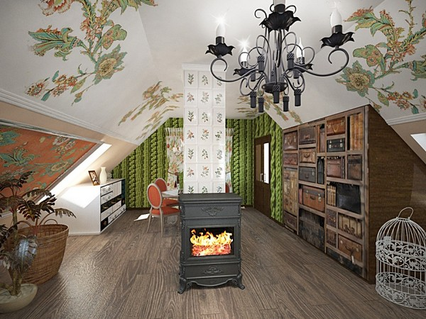 15-orange-white-green-color-floral-pattern-russian-provence-attic-floor-interior-design-tiled-chimney-latex-digital-printing-on-walls-and-ceiling-3D-knitwear-effect-wallpaper-wall-mural-retro-chandelier