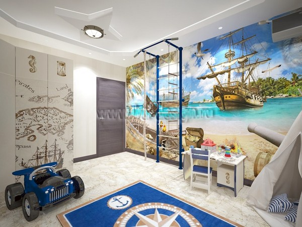 16-tortora-dove-gray-interior-kid's-boy's-bedroom-in-marine-style-cork-floor-digital-photo-printing
