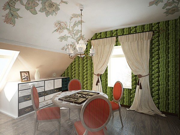 17-orange-white-green-color-floral-pattern-russian-provence-attic-floor-interior-design-latex-digital-printing-on-walls-and-ceiling-3D-knitwear-effect-wallpaper-wall-mural-retro-chandelier