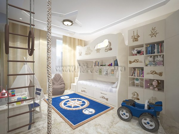 17-tortora-dove-gray-interior-kid's-boy's-bedroom-in-marine-style-cork-floor-digital-photo-printing