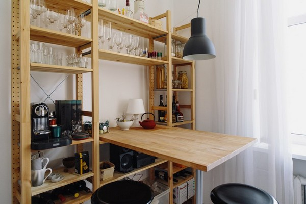 18-scandinavian-eclectic-interior-design-IKEA-furniture-kitchen-bar-stools-shelving-unit-black-lamp