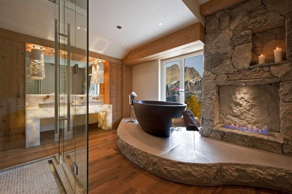 2-51-Degrees-Thermal-Resort-spa-mansion-in-swiss-alps-chalet-interior-design-fireplace-bathroom-with-panoramic-windows