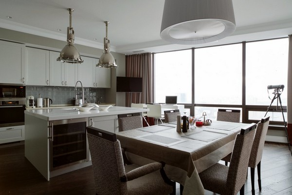 2-English-interior-style-white-kitchen-island-dining-room-metal-lamps-selva-dining-set-table-chairs-panoramic-windows (2)