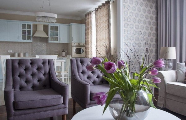 Lilac and beige restrained traditional apartment home interior design kitchen and bathroom - Purple and tan living room ...