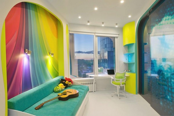 3-1-white-walls-colorful-accents-glossy-futuristic-style-interior-design-panoramic-windows-self-levelling-floor-kid's-toddler-room-turquoise-sofa-couch