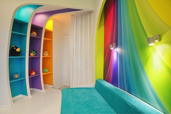 3-2-white-walls-colorful-accents-glossy-futuristic-style-interior-design-panoramic-windows-self-levelling-floor-kid's-toddler-room-turquoise-sofa-couch