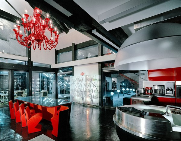 3-unusual-glass-house-panoramic-windows-open-plan-concept-kitchen-living-room-unusual-round-ball-shaped-kitchen-island-red-dining-table-red-chandelier