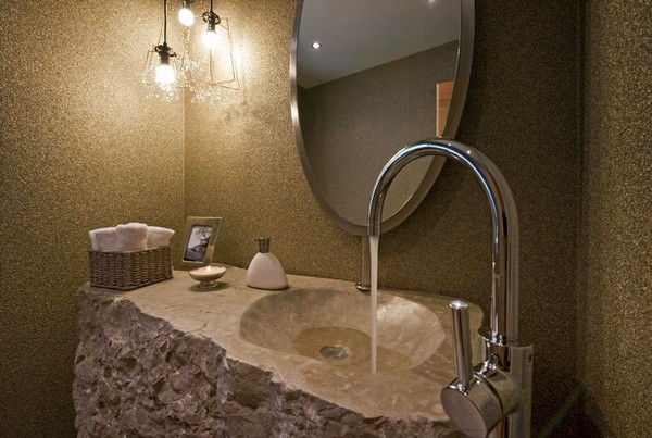 4-51-Degrees-Thermal-Resort-spa-mansion-in-swiss-alps-chalet-interior-design-stone-wash-basin
