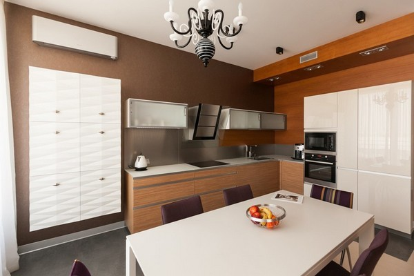 4-minimalist-style-open-concept-living-room-white-kitchen-set-3d-wall-decor-white-dining-table-purple-chairs