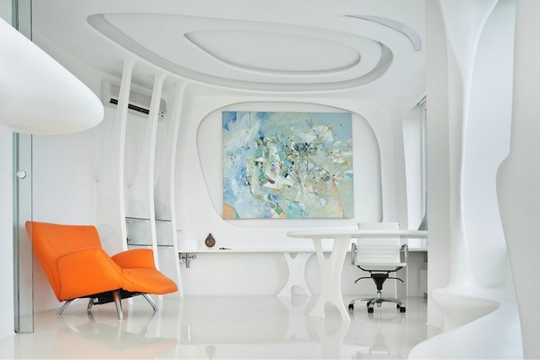 5-3--total-white-glossy-futuristic-style-interior-design-panoramic-windows-self-levelling-floor-columns-glass-interior-wall-partition-work-room-3D-ceiling-orange-arm-chair