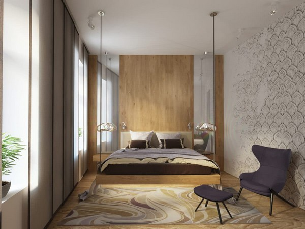 5-cozy-minimalist-bedroom-suspended-hanging-bed-blackberry-arm-chair-bedside-mirrors-vanishing-wall-pattern