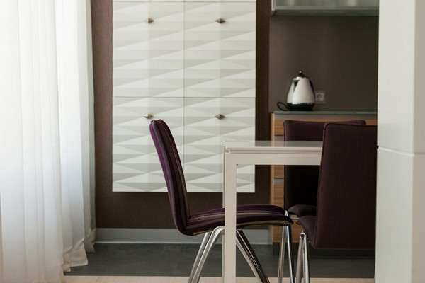 5-minimalist-style-open-concept-living-room-kitchen-white-dining-table-purple-chairs-3d-wall-decor