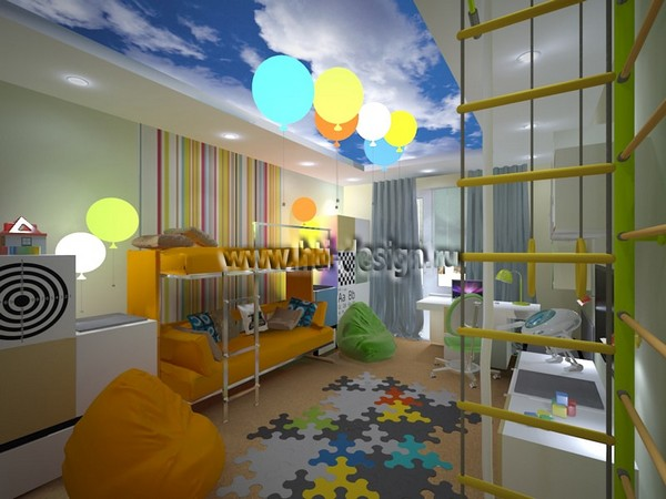 5-tropical-island-style-bright-interior-toddler-room-orange-sofa-sky-stripy-wall-stretch-ceiling