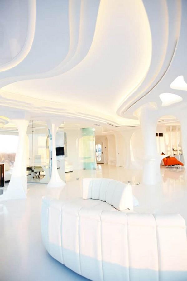 6 2 Total White Glossy Futuristic Style Interior