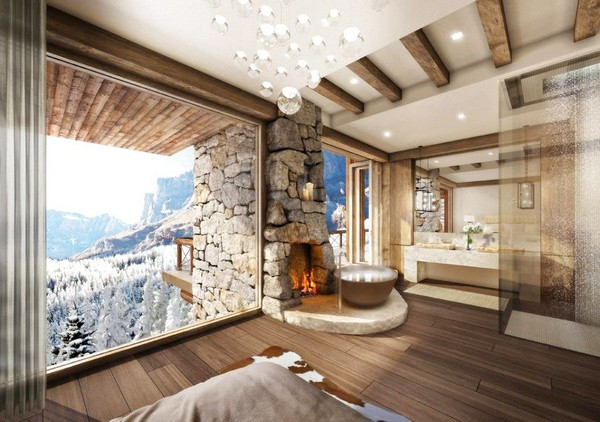 6-51-Degrees-Thermal-Resort-spa-mansion-in-swiss-alps-chalet-interior-design-bathroom-panoramic-windows