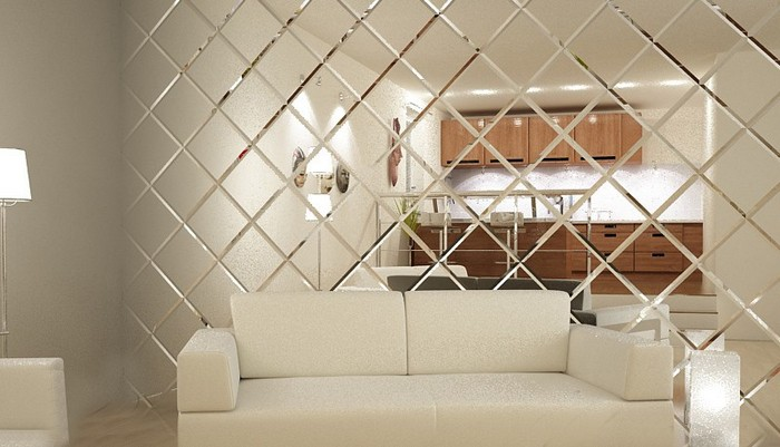 6 Mirror Wall Tiles White Sofa